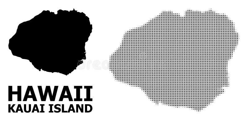 Mosaico de semitono del vector y mapa sólido de la isla de Kauai libre illustration