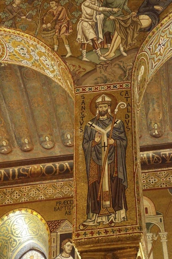 Mosaico de St Cataldus, obispo de Taranto foto de archivo