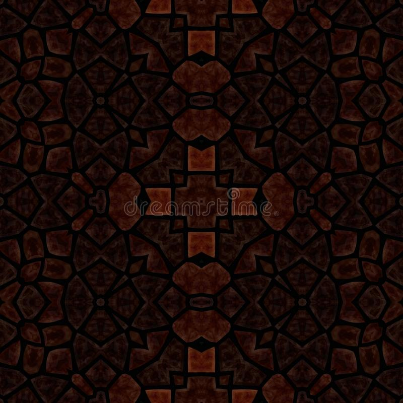 Mosaico decorativo capaz da telha do sumário do marrom escuro no estilo retro ilustração stock