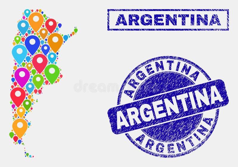 Mosaico degli indicatori della mappa della mappa dell'Argentina e dei bolli graffiati illustrazione vettoriale