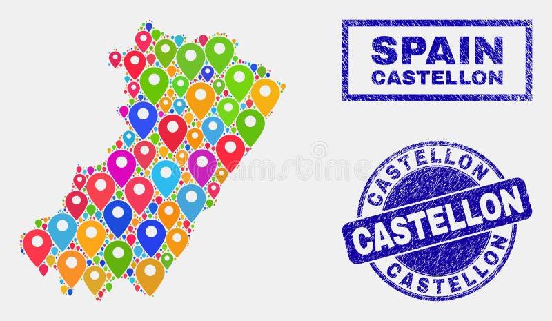 Mosaico dei puntatori della mappa della mappa della provincia di Castellon e delle guarnizioni graffiate del bollo illustrazione di stock