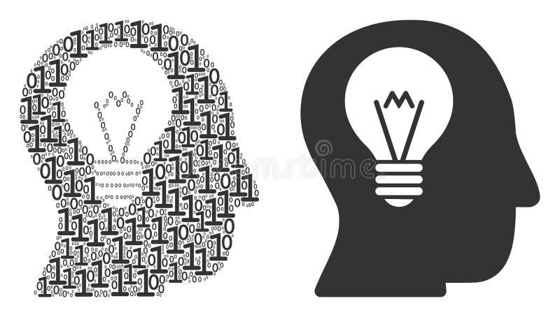 Mosaico del bulbo del intelecto de dígitos binarios stock de ilustración