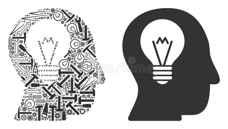 Mosaico del bulbo del intelecto de las herramientas del servicio stock de ilustración
