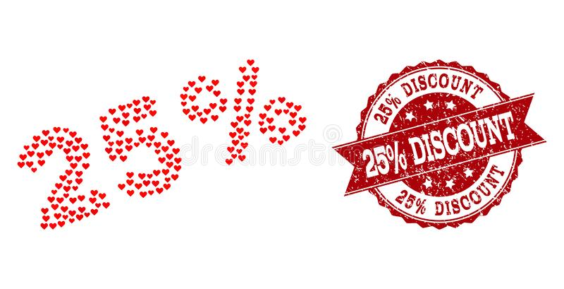 Mosaico del corazón del amor del 25 por ciento de icono y sello del Grunge ilustración del vector
