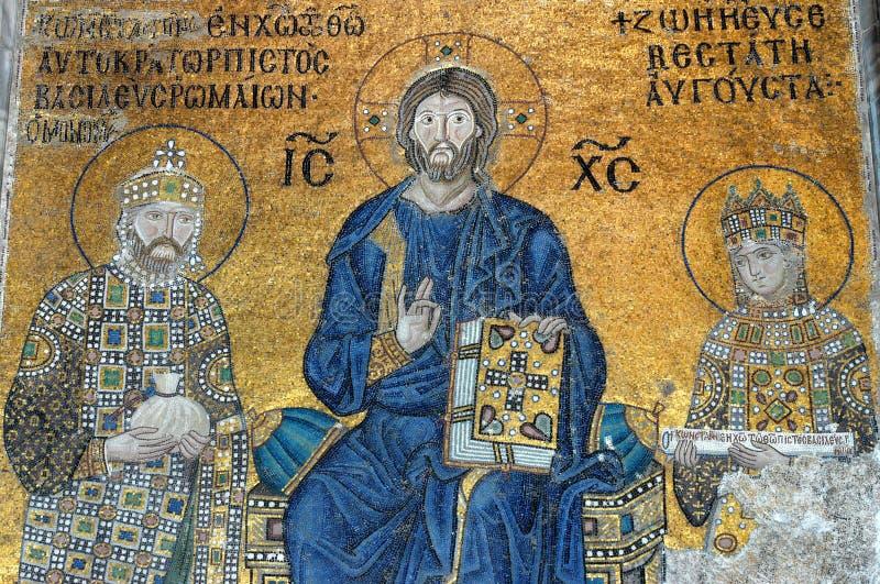 Mosaico del Jesucristo, Hagia Sofía en Estambul imagen de archivo