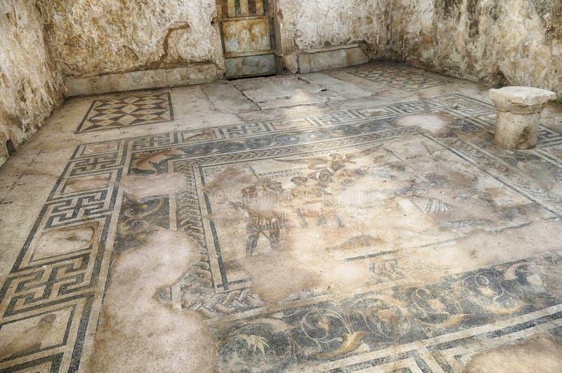 Mosaico del pavimento romano di Agamemnon immagine stock libera da diritti
