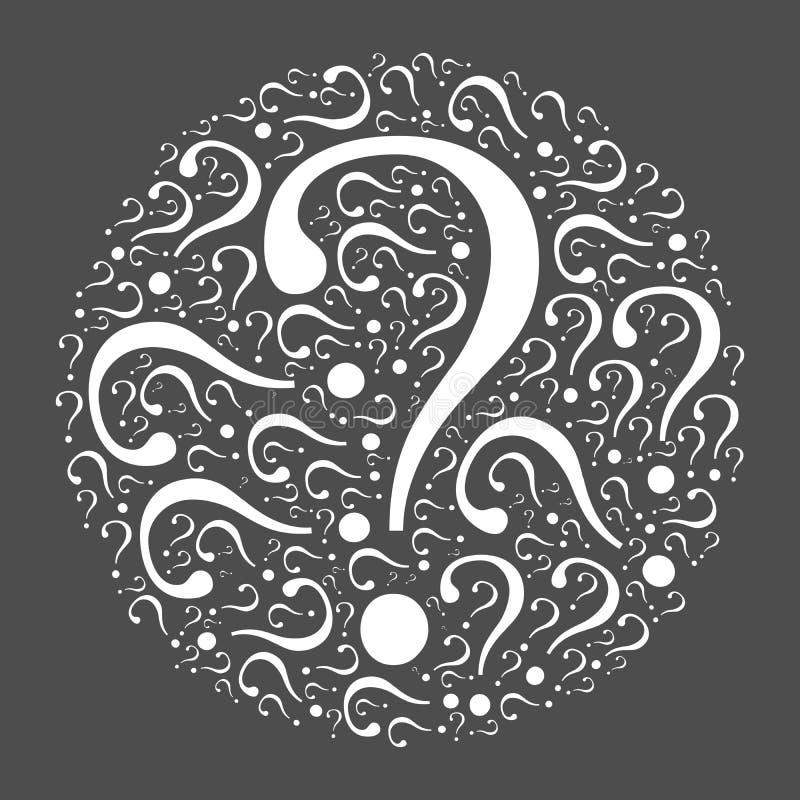 Mosaico del signo de interrogación en el círculo stock de ilustración