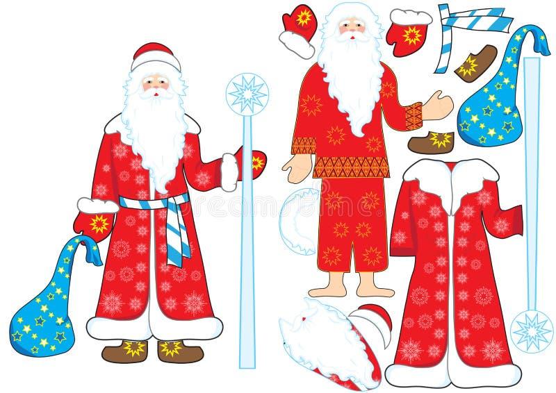 Mosaico del vector de la helada del padre de Ded Moroz ilustración del vector