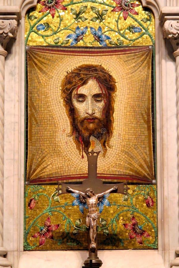 Mosaico del velo del ` s del Veronica en catedral del ` s de St Patrick Nueva York foto de archivo libre de regalías
