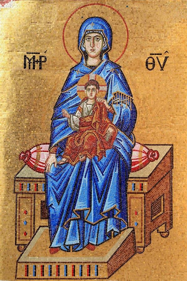 Mosaico del Virgin Mary e del Gesù Cristo fotografia stock libera da diritti