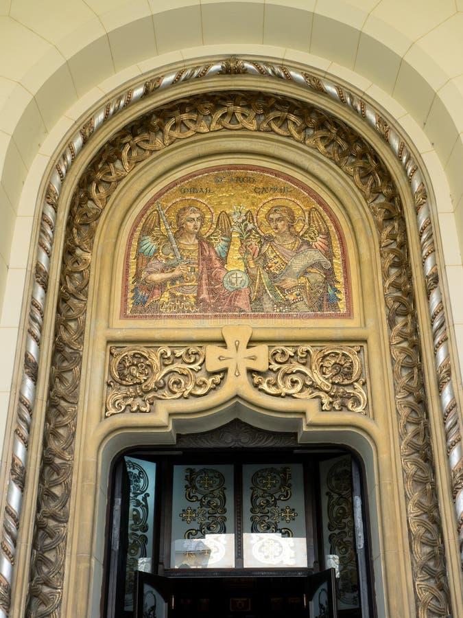 Mosaico dell'entrata della cattedrale di incoronazione, Alba Iulia, Romania fotografie stock