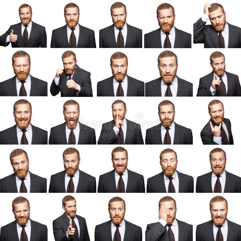 Mosaico dell'uomo d'affari che esprime le emozioni differenti fotografie stock