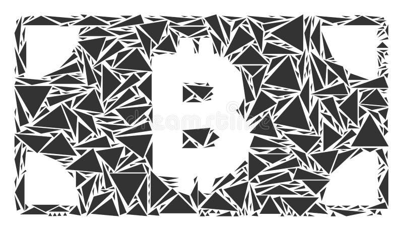 Mosaico della banconota dei contanti di Bitcoin dei triangoli illustrazione di stock