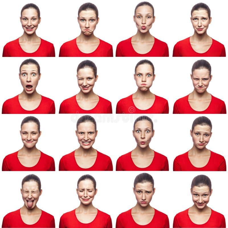 Mosaico della donna con le lentiggini che esprimono le espressioni differenti di emozioni La donna con la maglietta rossa con 16  fotografie stock