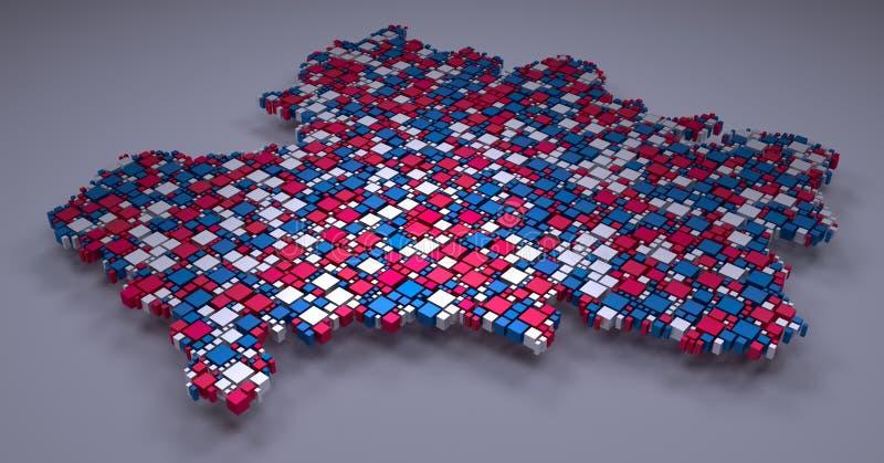 Mosaico della Francia - di Rhone-Alpes -3d di piccoli mattoni illustrazione di stock