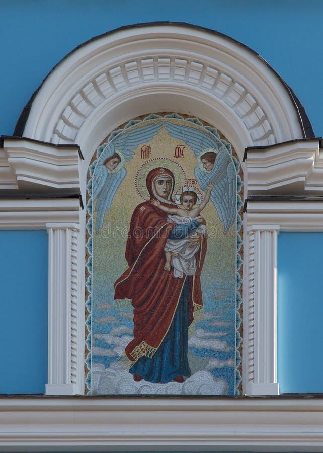 Mosaico della madre di Dio con il bambino di Jesus Christ in mani fotografia stock libera da diritti