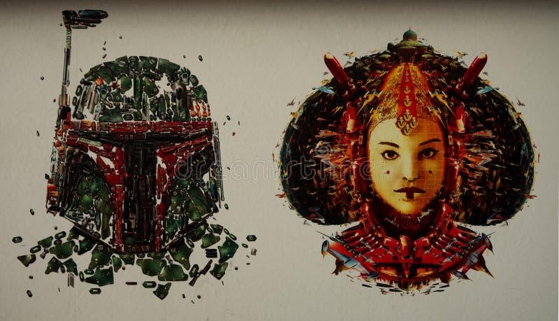 Mosaico della parete di Star Wars fotografia stock libera da diritti