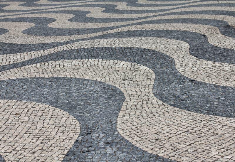 Mosaico della pavimentazione di Lisbona fotografia stock
