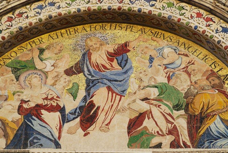 Mosaico di Cristo Victor Resurrection alla basilica di St Mark a Venezia, Italia fotografia stock