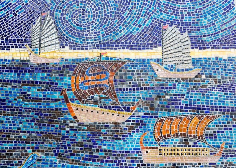 Mosaico di pietra delle barche a vela immagine stock libera da diritti