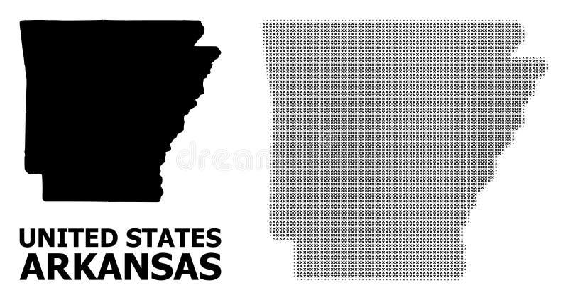 Mosaico di semitono di vettore e mappa solida dello stato dell'Arkansas royalty illustrazione gratis