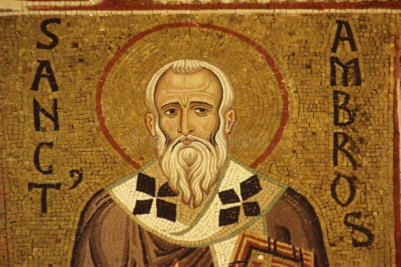 Mosaico di St Ambrose su una colonna fotografie stock libere da diritti