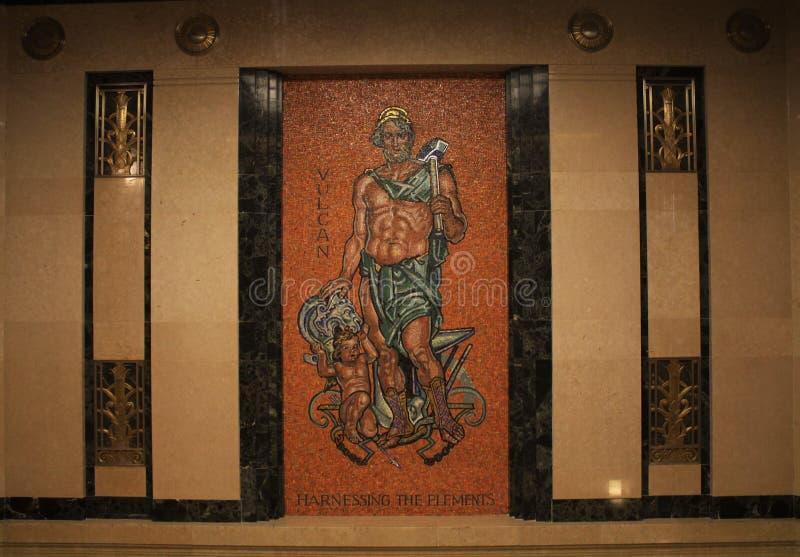 Mosaico di Vulcan, ingresso dell'elevatore, centro giudiziario dell'Ohio, Corte suprema dell'Ohio, Columbus Ohio fotografie stock