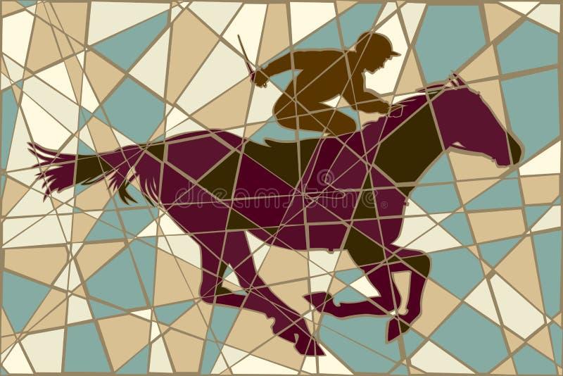Mosaico do cavalo de competência ilustração do vetor