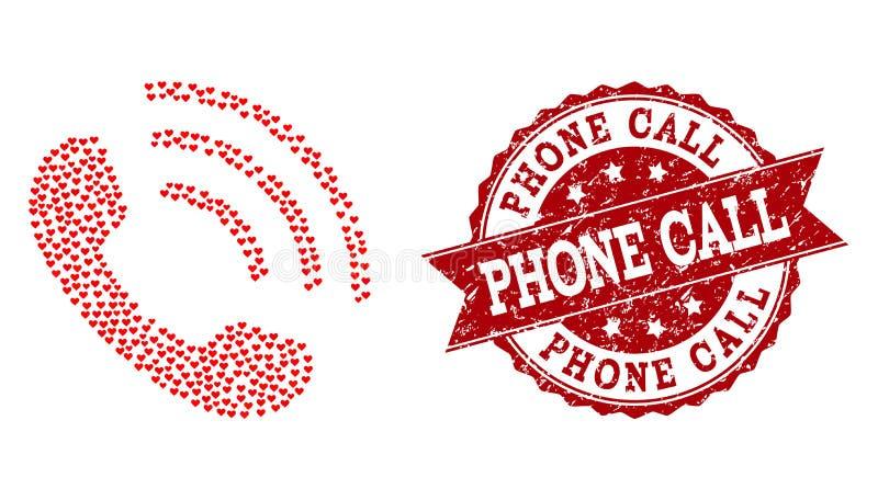 Mosaico do coração do amor do ícone do telefonema e do selo do Grunge ilustração royalty free