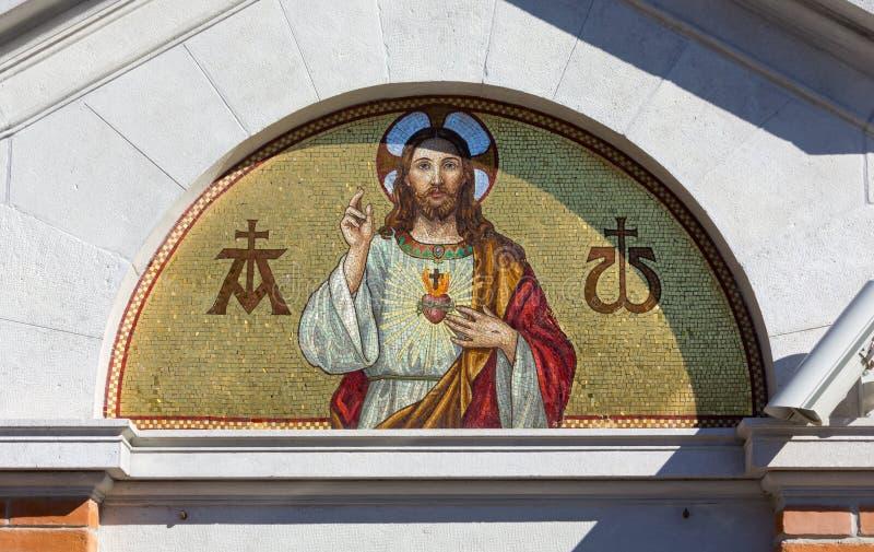 Mosaico do coração sagrado de Jesus fotos de stock royalty free