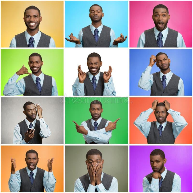 Mosaico do homem novo que expressa emoções diferentes imagem de stock royalty free
