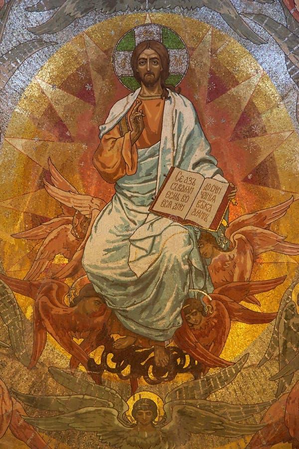 Mosaico do Jesus Cristo na igreja ortodoxa, Petersburgo foto de stock royalty free