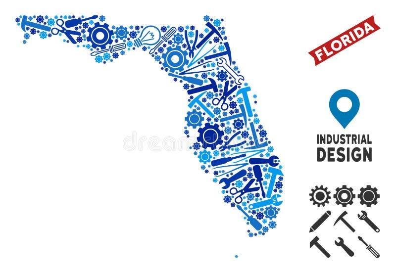 Mosaico do mapa de Florida da oficina ilustração stock