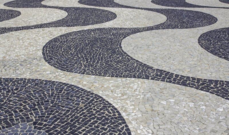 Mosaico do passeio na praia de Copacabana em Rio de janeiro fotografia de stock royalty free