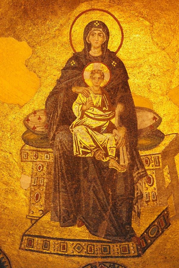 mosaico do século IX do Virgin e da criança de Cristo na abside de Aya Sofya em Istambul fotos de stock royalty free