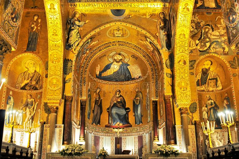 Mosaico dorato nella chiesa di Martorana della La a Palermo Italia fotografia stock