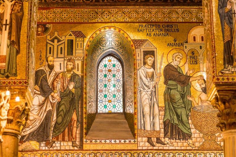 Mosaico dorato nella chiesa di Martorana della La, Palermo, Italia immagine stock