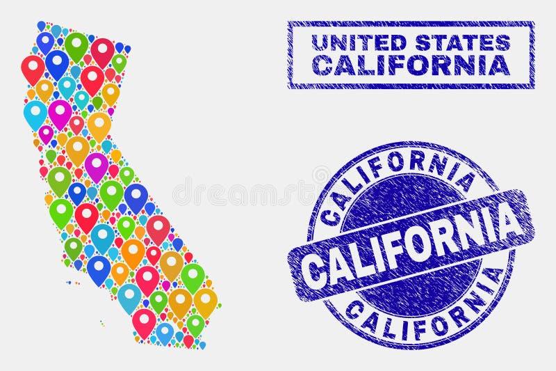 Mosaico dos marcadores do mapa de selos do selo do mapa e do Grunge do estado de Califórnia ilustração stock