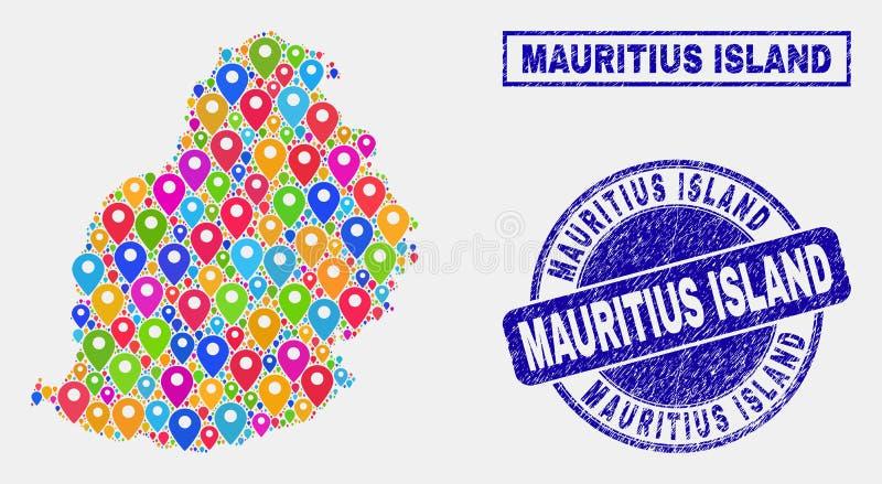 Mosaico dos marcadores do mapa de selos do selo de Mauritius Island Map e do Grunge ilustração do vetor