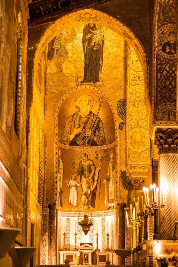 Mosaico dourado na igreja de Martorana do La, Palermo, Italia fotografia de stock royalty free