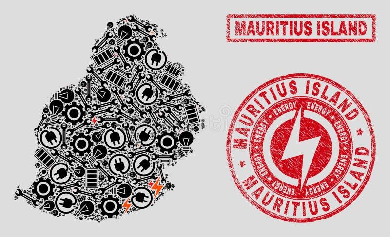 Mosaico elétrico Mauritius Island Map e flocos de neve e selos riscados do selo ilustração stock
