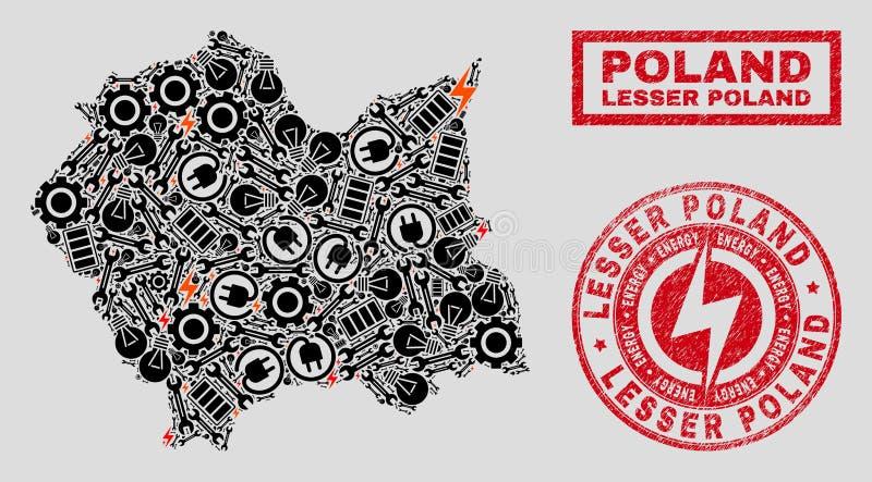 Mosaico elettrico Lesser Poland Voivodeship Map e neve e bolli graffiati illustrazione vettoriale