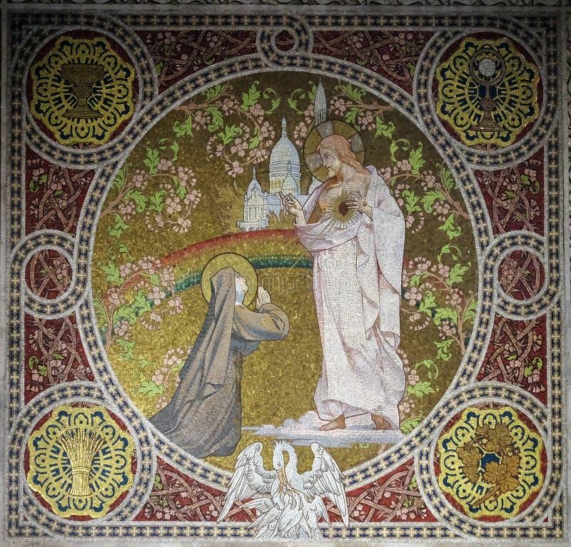 Mosaico en la bas?lica del coraz?n sagrado de Jes?s en Par?s fotos de archivo