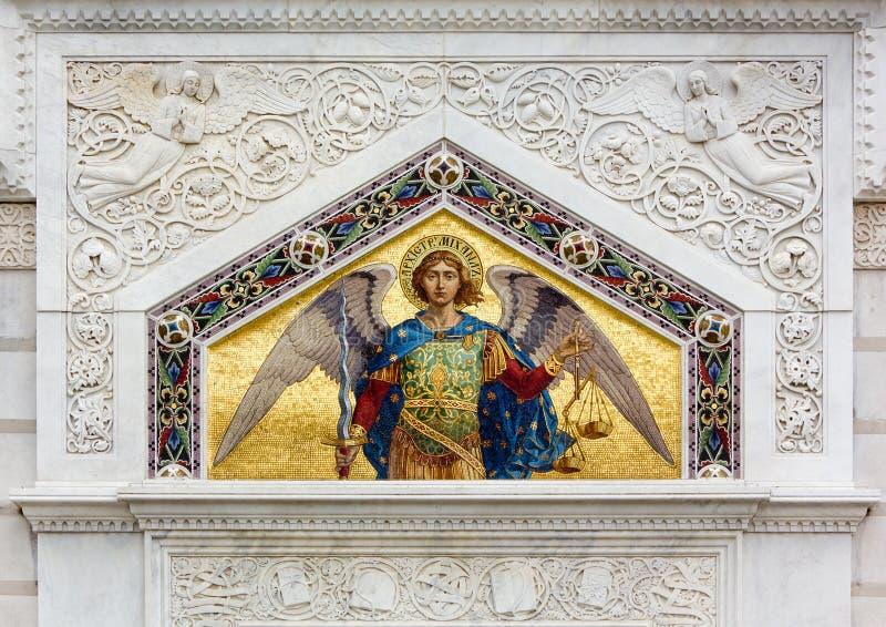 Mosaico en la iglesia ortodoxa de San Spiridione en Trieste foto de archivo