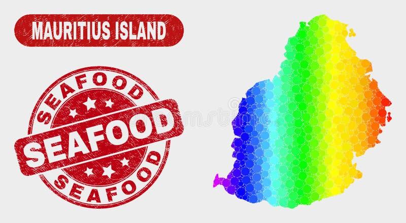Mosaico espectral Mauritius Island Map e selo do marisco da aflição ilustração royalty free