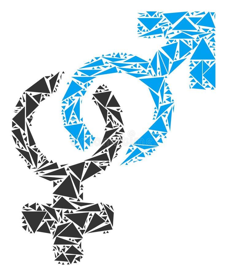Mosaico eterosessuale di simbolo dei triangoli illustrazione di stock