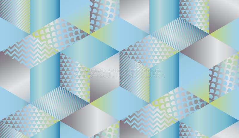 Mosaico geométrico de lujo de las formas en colores en colores pastel stock de ilustración