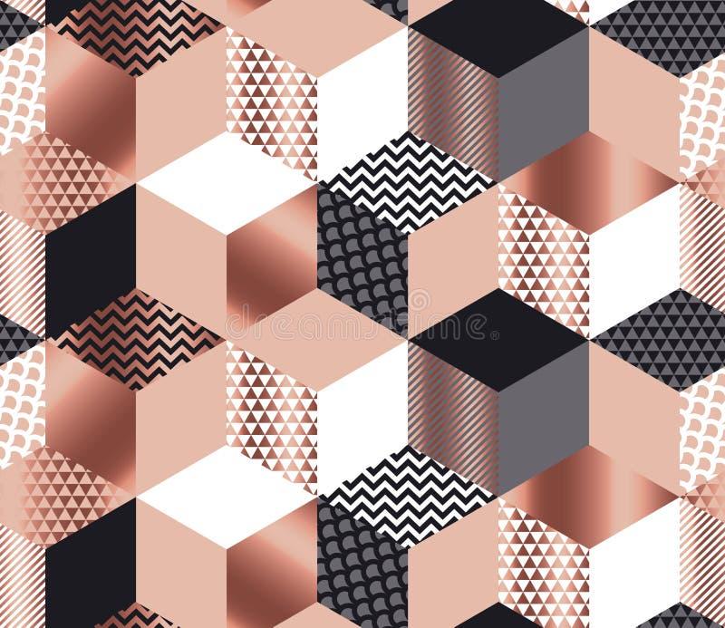 Mosaico geométrico de lujo de las formas en el oro color de rosa, gris, blanco stock de ilustración