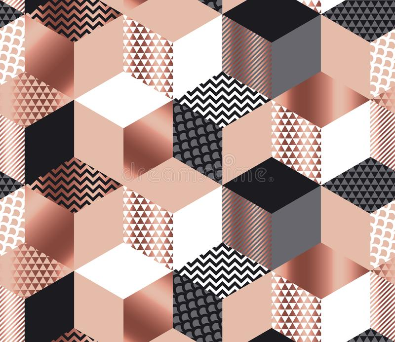Mosaico geométrico luxuoso das formas no ouro cor-de-rosa, cinza, branco ilustração stock