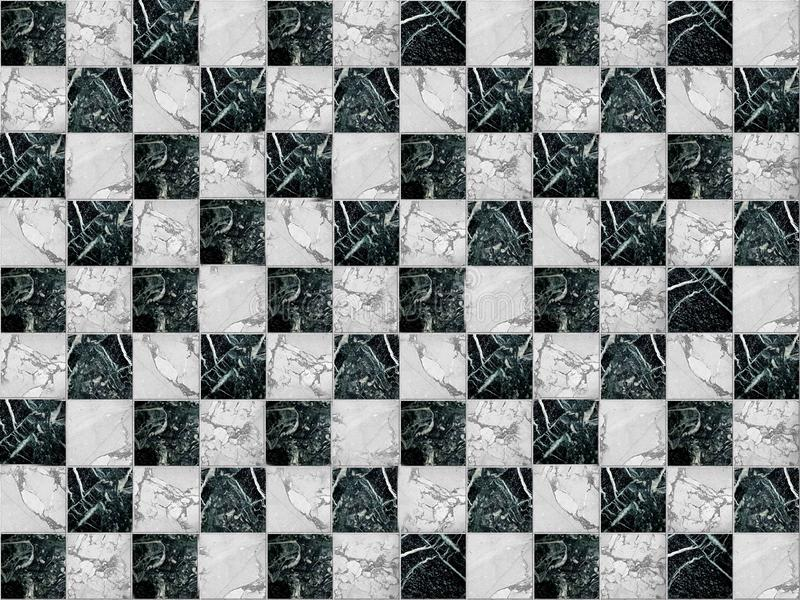 Mosaico geométrico sob a forma de um tabuleiro de xadrez feito da pedra de mármore fotografia de stock